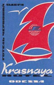 RUSSIA ODESSA HOTEL KRASNAYA VINTAGE LUGGAGE LABEL