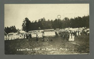 Pontiac MICHIGAN RPPC 1925 KKK RALLY Labor Day Picnic KLAN White Hoods Robes