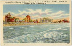 Linen General View showing Hotels at Atlantic City NJ
