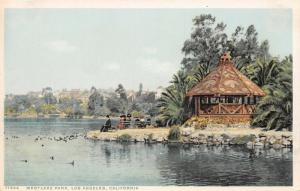 Los Angeles~Detroit Publishing #71694~Ducks & Rustic Hut Pavilion~Westlake c1910
