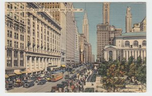 P2245, 1948 postcard busy 42nd st. e. of 6th ave old cars etc nyc