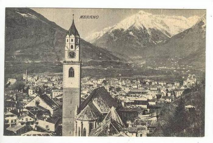 Aerial View of City & Clock Tower,Merano,Italy 1900-10s