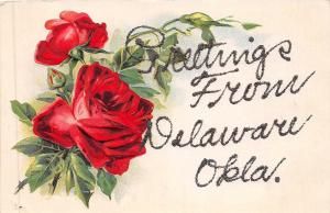 A38/ Delaware Oklahoma Ok Postcard c1910 Greetings from Delaware Glitter