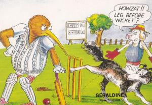 New Zealand Kiwis Sheep Leg Before Wicket Kiwi Local Comic Humour Postcard