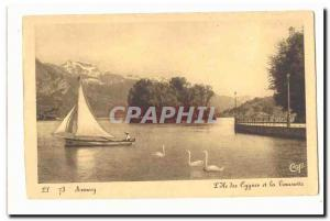 Annecy Old Postcard L & # 39ile Swan and spin