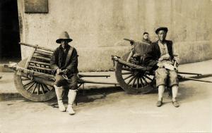 china, SHANGHAI, Native Chinese Wheelbarrows (1910s) RPPC Postcard