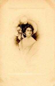 Lady in Big Hat - Artist: Kathryn Elliott.  RPO- Omaha & Kansas City Railroad
