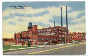 Ohio Leather Company Factory Girard OH linen postcard