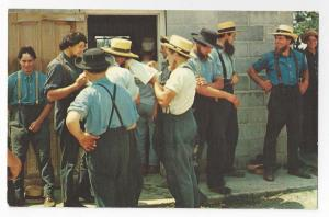 Amish Men Barn RaisingTaking Break Lancaster PA Postcard