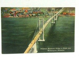 Wilmington DE Delaware Memorial Bridge Night View Linen Vintage Postcard