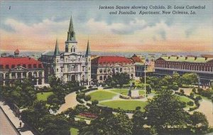 Louisiana New Orleans Jackson Square Showing Cabildo St Louis Cathedral And P...