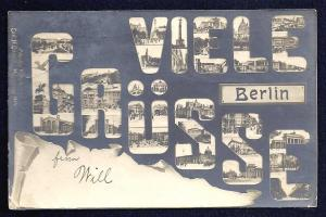 Many Greetings from Berlin multiview RPPC used c1904