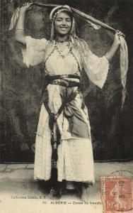 algeria, Native Girl performing Handkerchief Dance, Danse du Mouchoh (1910)