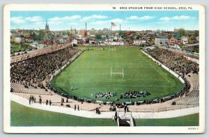 Erie PA~High School Football Stadium~Game Day~Players~Skyline~1930s Linen PC
