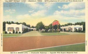 Amarillo Texas Tourist Court 1947 roadside linen McCormick Teich postcard 348