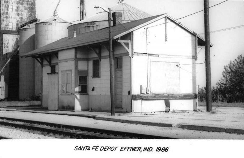 Effner Indiana Santa Fe Railroad Depot Real Photo Vintage Postcard K101387