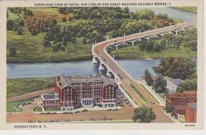 New York Schenectady Aeroplane View Of Hotel Van Curler And Great Western Gat...
