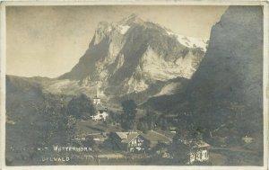 Switzerland Postcard Grindelwald Wetterhorn picturesque mountain village image