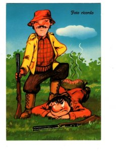 Men with Hunting Rifles, Italian Cartoon Humour,