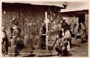 Ghana Gold Coast African pottery ,pounding clay natives Postcard