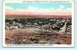 Postcard WY Rawlins Panorama of City Lincoln Highway Route 30 J10