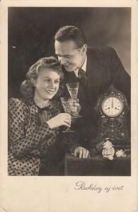 New Year clock greetings lovely couple champagne cheers photo postcard Hungary