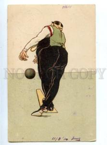 144925 Sport BOWLING player w/ chain Vintage postcard