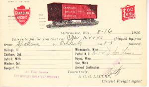 Canadian Pacific Route Postal Card - Boxcar Location 1920