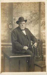 Swansea Wales~Jack Thomas Real Photo Postcard~Distinguished Beard, Carved Chair