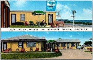 FLAGLER BEACH, Florida Postcard LAZY HOUR MOTEL Ocean View A1A Roadside c1950s