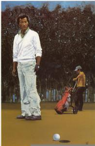 Isao Aoki Japanese Golfer Stunning 12x8 Large Board Card Painting Golf Ephemera