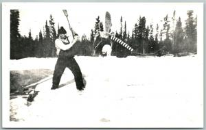 MAN FIGHTING MOSQUITO EXAGGERATED VINTAGE REAL PHOTO POSTCARD RPPC