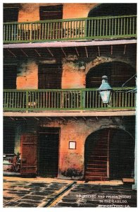 Courtyard and Prison Rooms in the Cabildo- 1940s Vintage Postcard- New Orleans