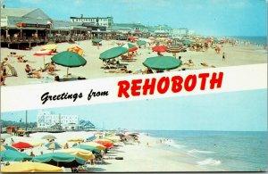 Greetings from Rehoboth Beach, Umbrellas, Sunbathers, Boardwalk Postcard