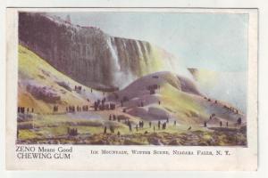 PC40 JLs old postcard advertise zeno gum winter niagra falls