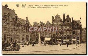 Old Postcard Ghent Place Ste Pharaïlde former hospice St Lawrence Walk Fish