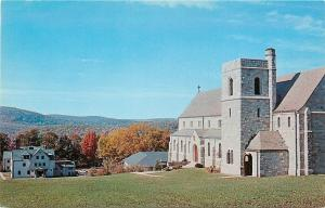 New Milford CT~Homes Below Chapel of Canterbury School~1950s Postcard