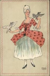 Art Deco - Beautiful Victorian Woman w/ Birds - FINIS c1910 Postcard