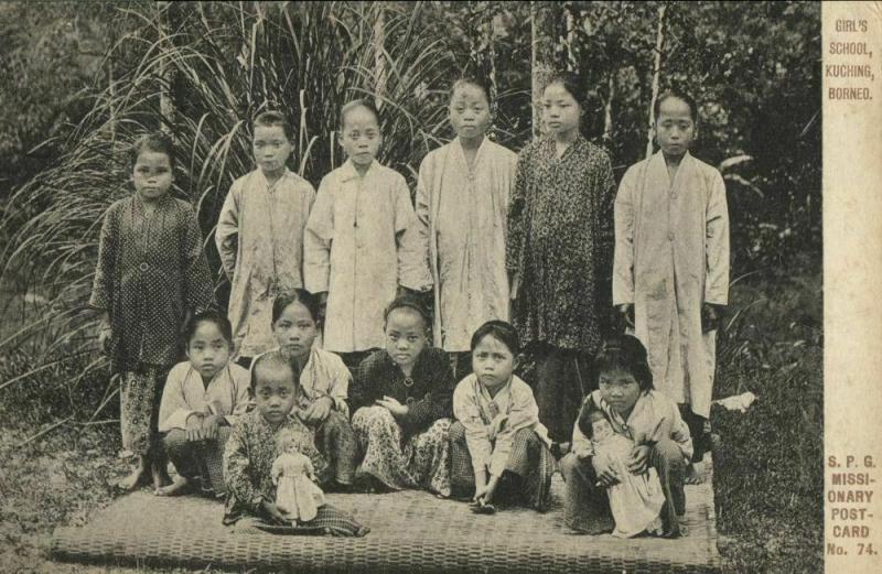 malay malaysia, BORNEO SARAWAK KUCHING, Girl's School (1910s) Mission Postcard