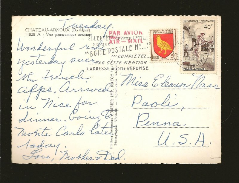 Postmark 1957 Chateau Arnoux French Alps Real Photo Postcard
