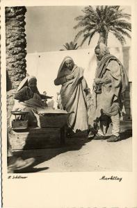 libya, Native Arab Men at the Market (1940s) H. Schlösser Photo