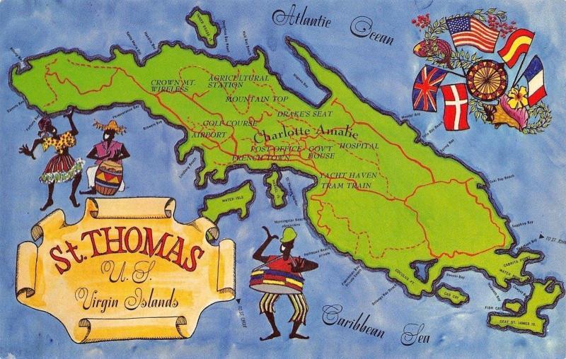 St Thomas Virgin Islands~Map Postcard~Caribbean Sea~Dancers~Flags ...