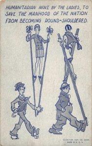 G39/ Interesting  Non-Postcard Walking Stilts Women Humaintarian c1920s