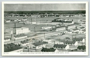 Buzzards Bay-Camp Edwards MA~Birdseye View of Division Headquarters~1940s WWII
