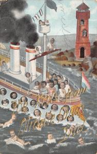 Kids From Middletown Indiana~Babies on Steamship~Lighthouse~1908 Postcard