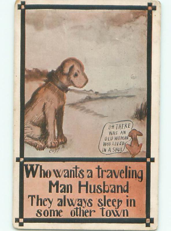 Pre-Linen Comic signed DOG LOOKING AT SMALL ANIMAL AB8791