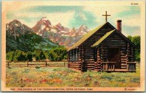 1940s Grand Teton National Park Postcard Church of the Transfiguration Linen