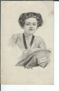 AX-123 - Pretty Woman, Artist Signed Stymann Powell, 1907-1915 Postcard Vintage
