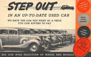 Early Used Car Advertising Mailing Card Postcard
