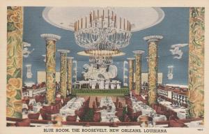 Blue Room Restaurant at Roosevelt Hotel New Orleans LA Louisiana pm 1955 - Linen